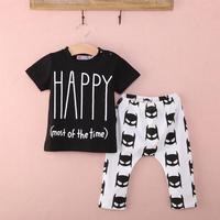 Children Cartton Suit 2017 New 2Pcs Newborn Baby Boys Outfits Top T Shirt Batman Pants Clothes
