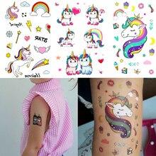 3 piezas Arco Iris Unicornio tatuaje pegatina niños cumpleaños fiesta decoraciones Linda Unicornio estrella corazón corona Paster boda suministros