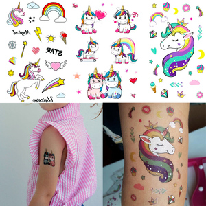 3pcs Rainbow Unicorn Tattoo Sticker Kids Birthday Party Decorations Cute Unicornio Star Heart Crown Paster Wedding Supplies