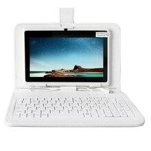 YUNTAB blanco 7 pulgadas Q88 Tablet PC Quad Core 1.5 GHz de la pantalla táctil 1024×600 Doble Cámara Android4.4 Tablet (añadir teclado blanco)