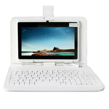 YUNTAB white 7inch Q88 Tablet PC Quad Core 1.5GHz touch screen 1024x600 Dual Camera Android4.4 Tablet (add white keyboard)