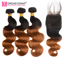 Dream Diana Ombre Peruvian Body Wave Hair Bundles With Closure Two Tone 1B 30 Non Remy 3 Ombre Bundles With Closure Human Hair(China)