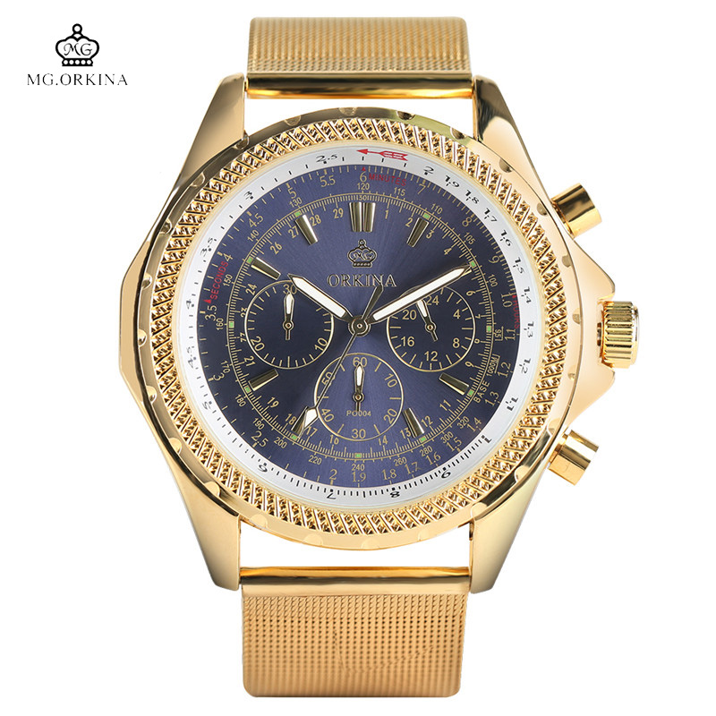 все цены на MG.ORKINA High Quality Men Quartz Watches Golden Case White/Navy Blue/Black Design Dial Luxury Business Fashion Watch for Male в интернете