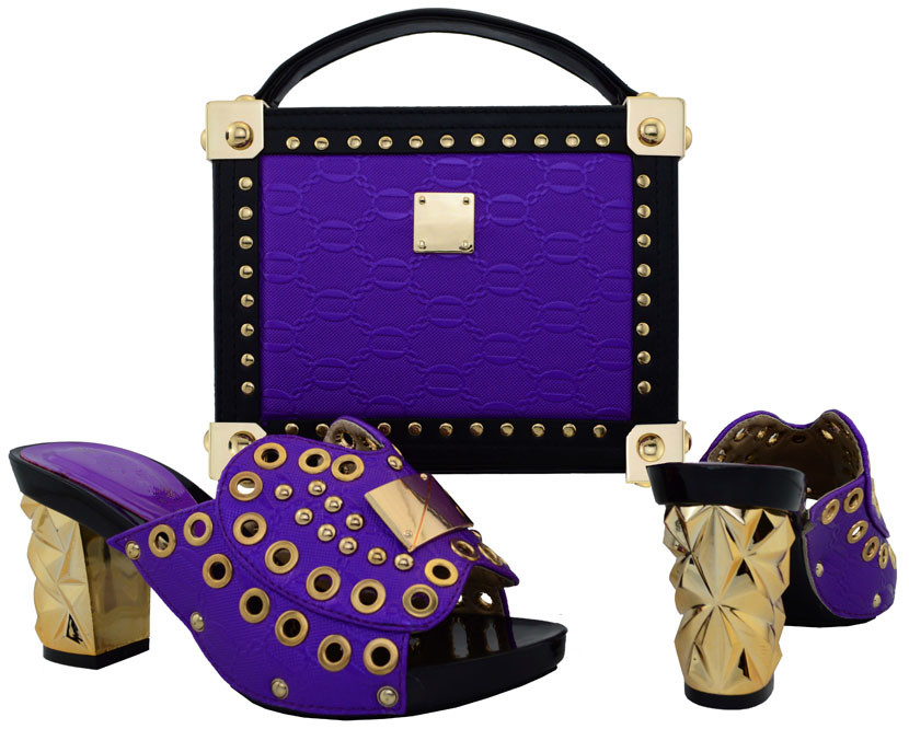 New Coming Fashion Italian Shoes With Matching Bags Set For Wedding And Party African Shoes And Bag Sets Size Purple BCH-21 2017 new coming italian fashion black ab