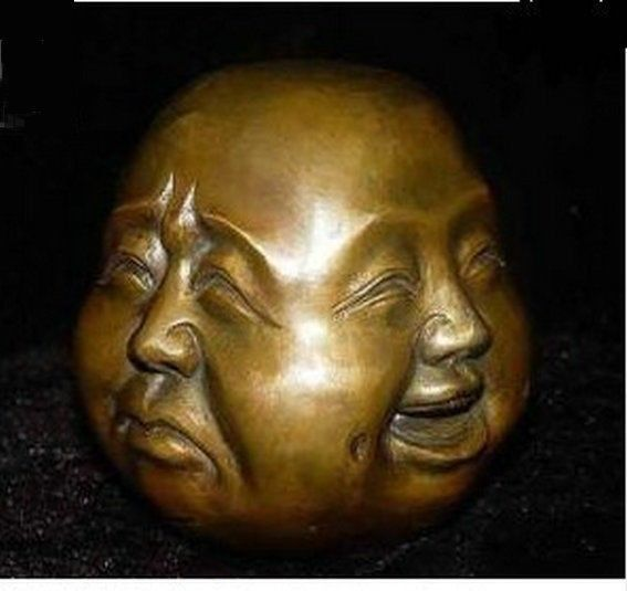 Rare chinese tibet 4 faces buddha head statue decoration copper wholesale Decoration real Brass