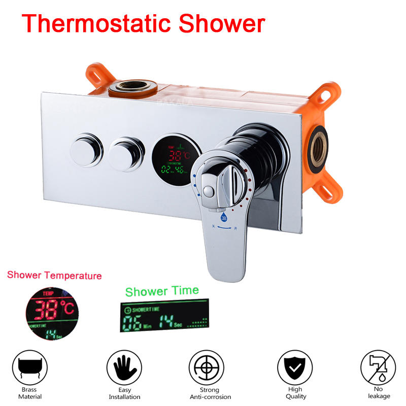 Bathroom Concealed Control Valve Thermostatic Mixing Valve Brass Wall Mounted 2 Ways Shower Panel Stainless Steel Controller
