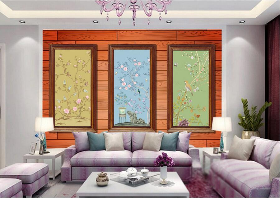 Custom large murals,Chinese style flower and bird wallpaper,living room TV sofa background bedroom papel de parede free shipping deconstruction blue bird bird personalized painting large murals mak wallpaper custom size