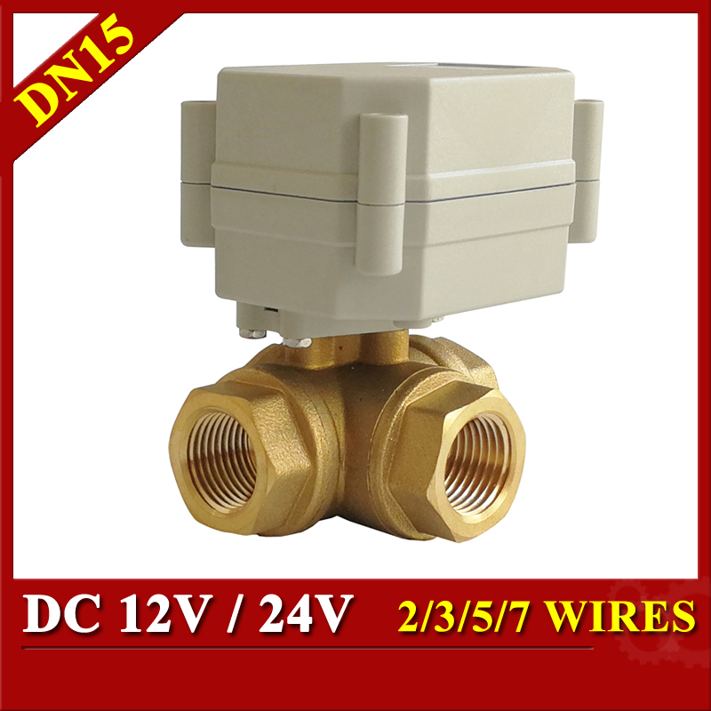 12V 24V Electric Valve DC12V DC24V 2/3/5/7 Wires 3 Way Brass DN15 1/2'' Horizontal L Port T Port Water Motorized Valve стоимость