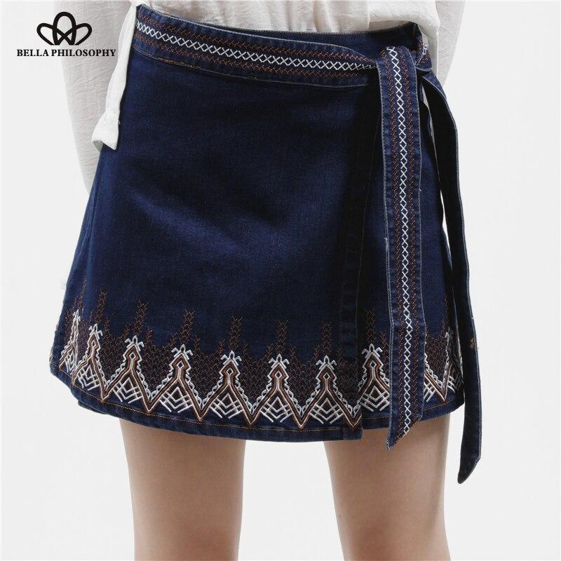 Bella Philosophy 2018 summer autumn women's vintage ethnic floral Embroidery bow knot denim wrap skirt navy blue