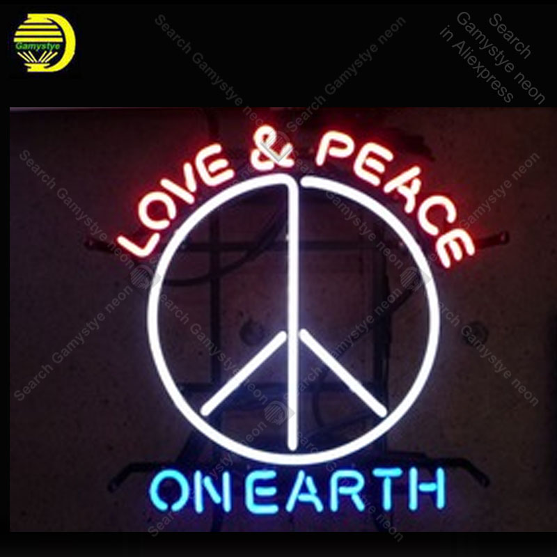 Neon Light Bulbs >> Us 110 26 26 Off Love Peace On Earth Neon Sign Glass Tube Bulb Light Icons Light Lamps Store Display Signboard Handmade Neon Light Neon For Room In