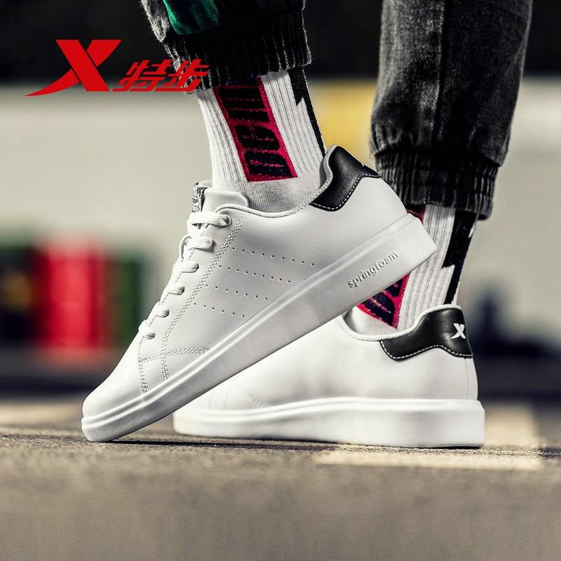Xtep Men Skateboarding Shoes Spring Sports Sneakers For Men Small White Casual Skateboarding Shoe 881119319333