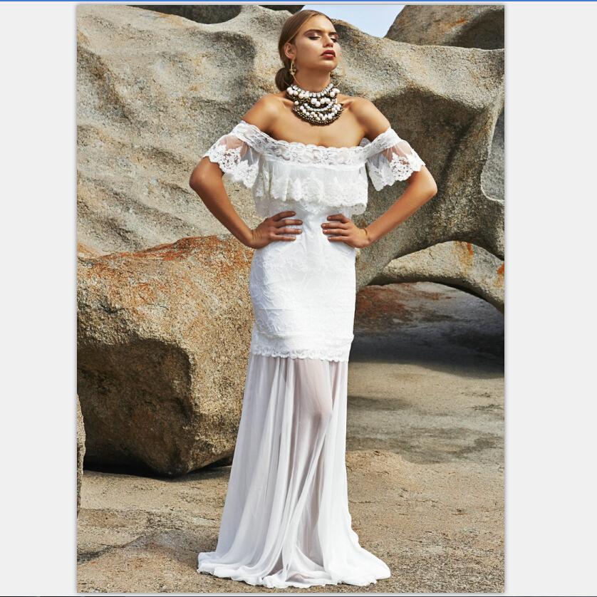 Online buy wholesale casual wedding dress from china for Off the shoulder beach wedding dresses