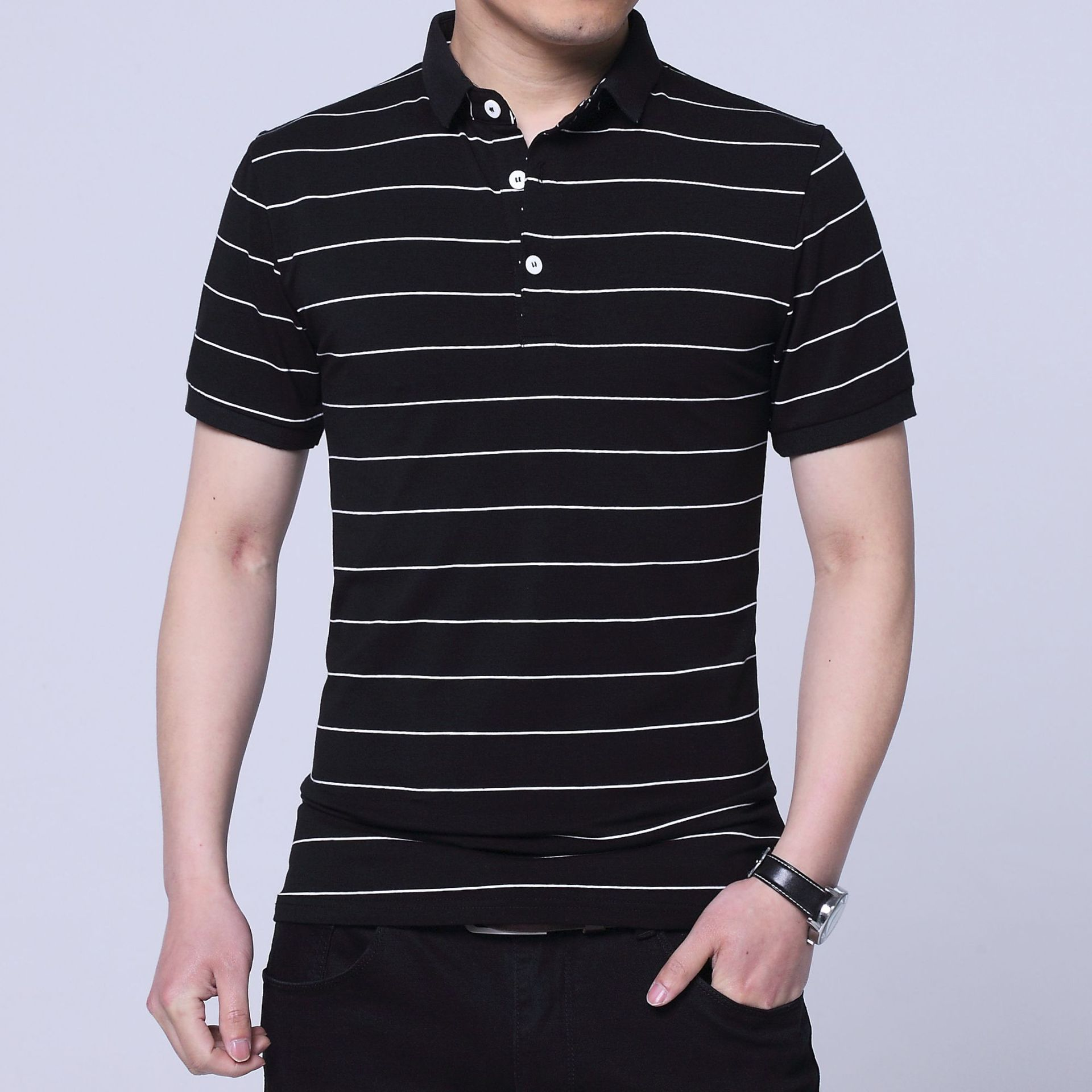 5XL Mens 2019 New Cotton   Polo   Men black and white   Polo   Shirts Slim Fit shirt Turn-down Collar Color collision Striped   Polo