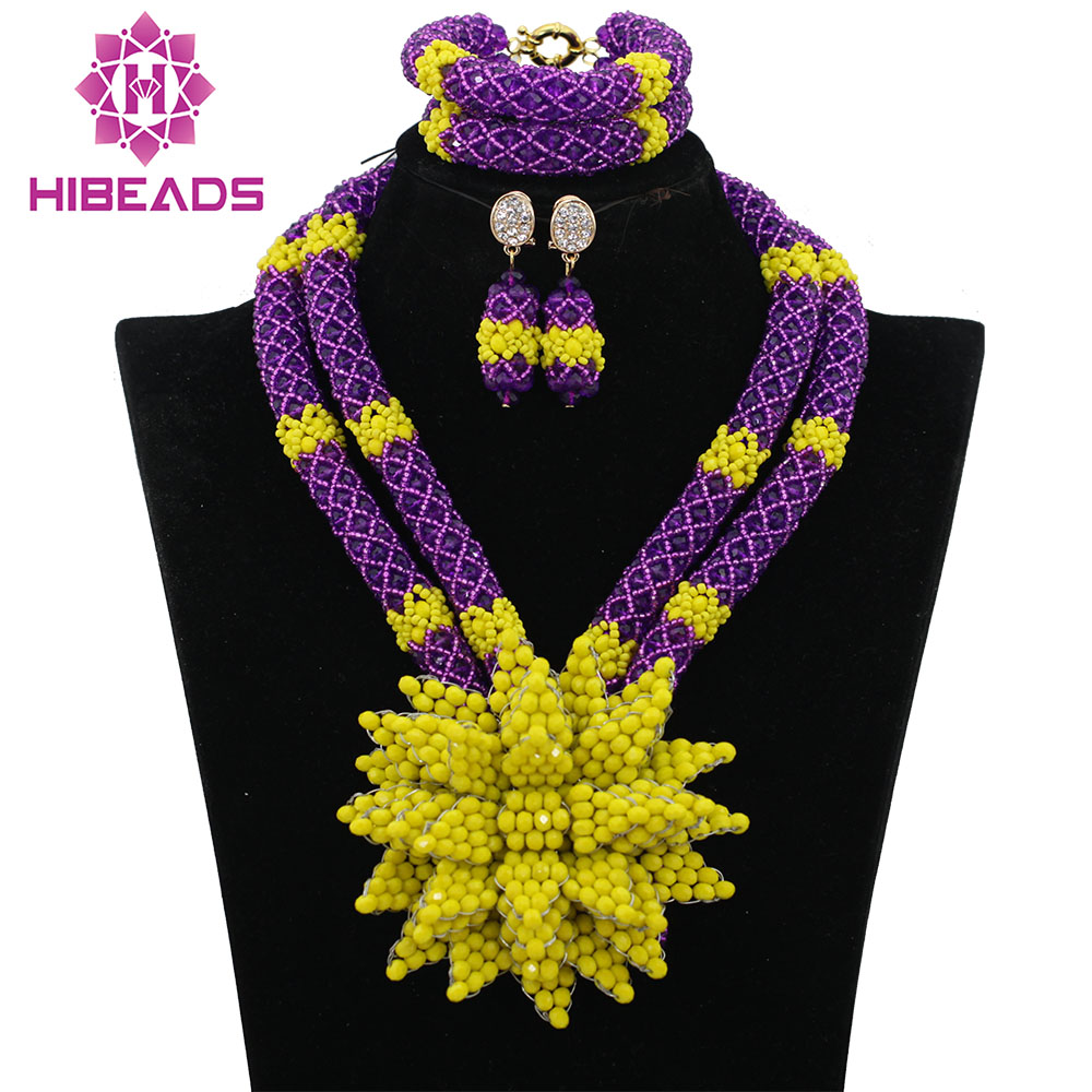African Beads Jewelry-Set Costume Wedding-Flower-Nigerian Women Purple/yellow Exclusive