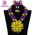 Exclusivo Roxo/Amarelo Da Flor Do Casamento Nigeriano Beads Africanos Jewelry Set 2017 Traje Mulheres Set Jóias Frete Grátis WA677