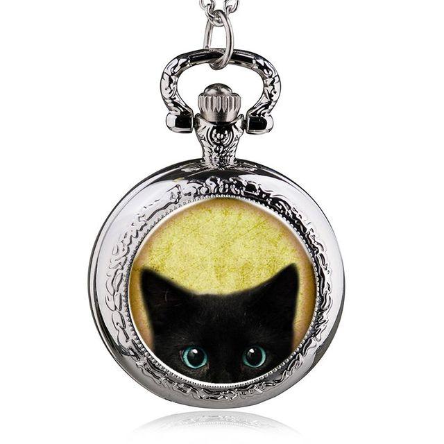 fashion alice in wonderland quartz cat pocket watch necklace woman fob watches b