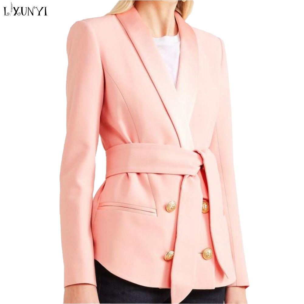 LXUNYI Belted Double Breasted Blazer Woman jacket Spring bleizer femenino Slim Long Sleeve Ladies Blazers And Coats Office Suit