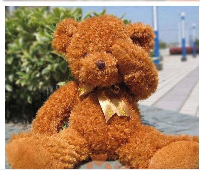 Peluche belle peluche ours timide 130 cm ours brun foncé poupée 51 pouces jouet s4659