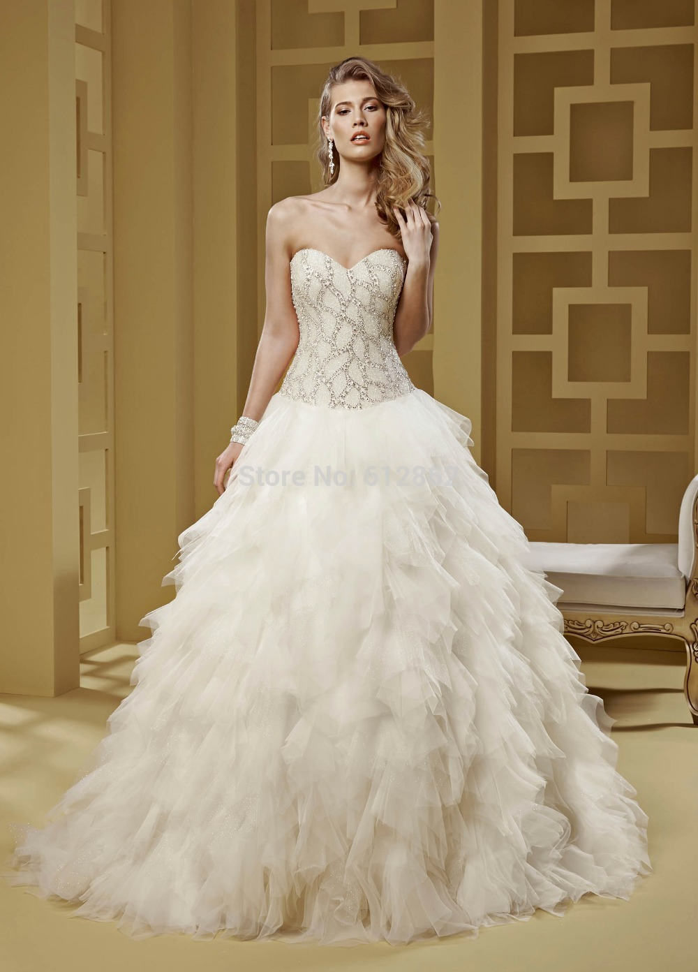 Buy strapless sweetheart long train bling for Strapless wedding dresses with long trains