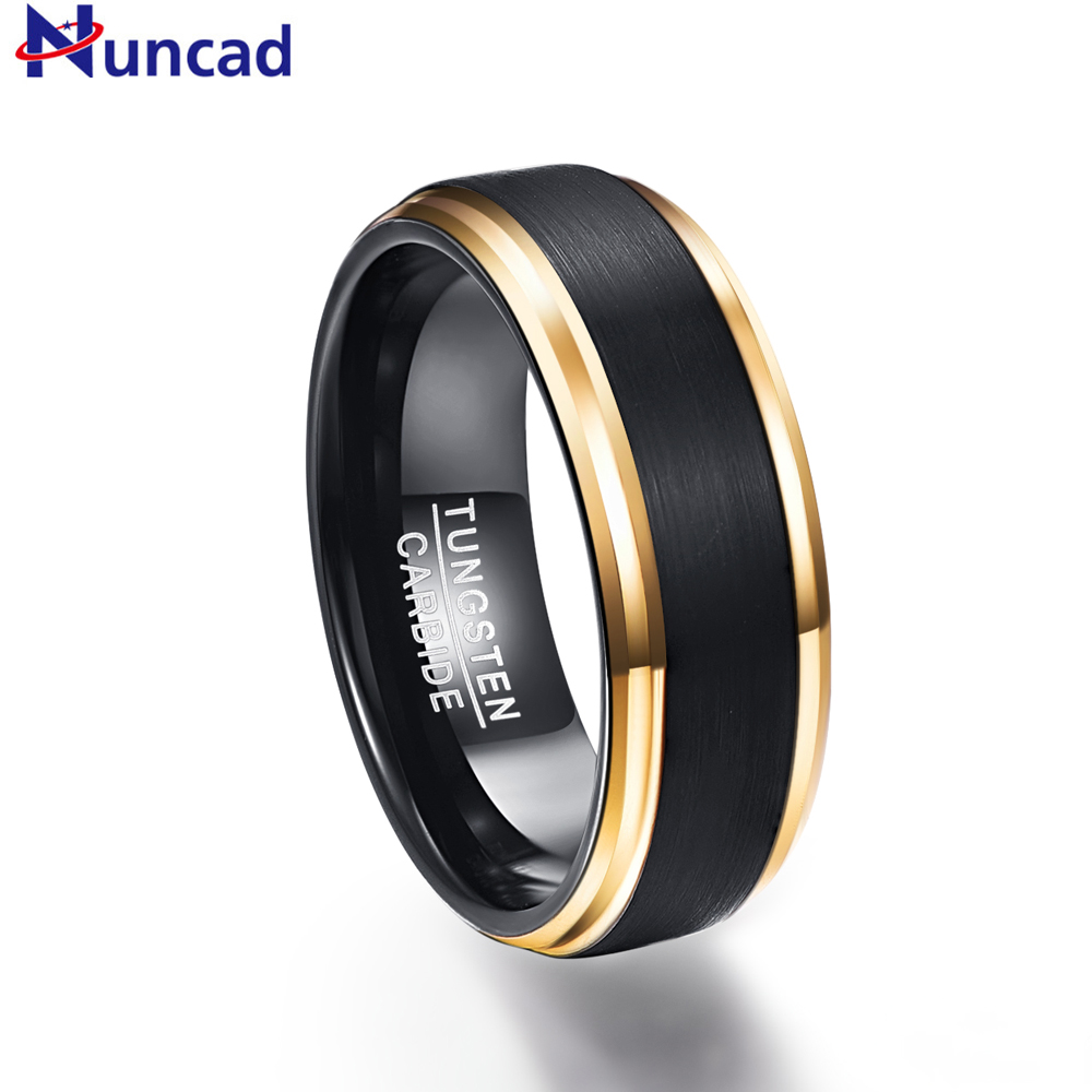 Nuncad classic black men rings 100% pure Tungsten Gold-Color wedding engagement ring free shipping