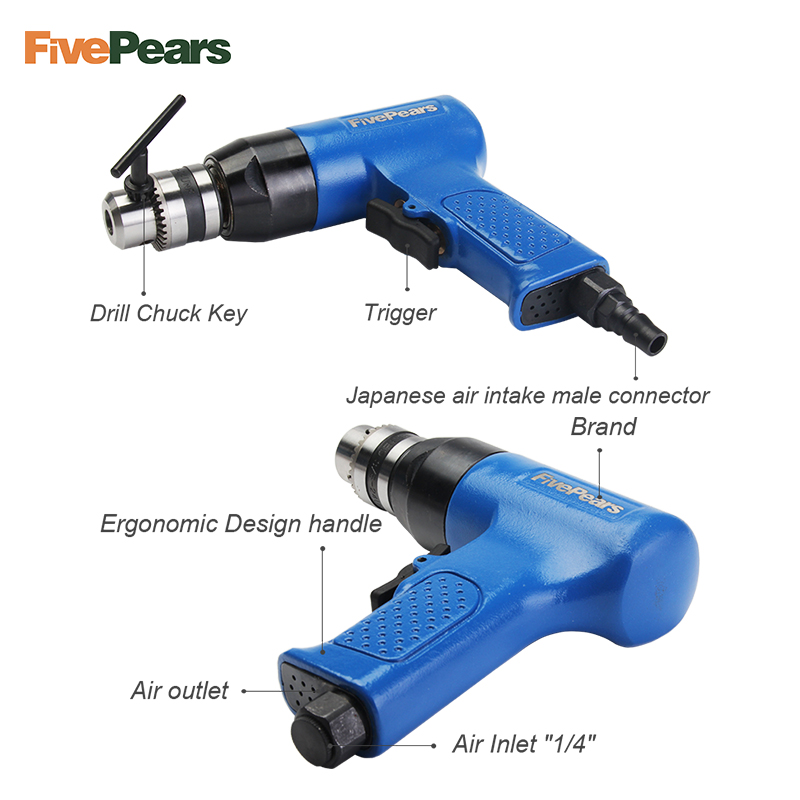 FivePears 3 8 quot high torque air drill pneumatic drilling tool wind grinding tapping tool 10mm 13mm reverse switch 1460rpm in Pneumatic Tools from Tools