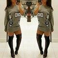 Высокая Мода Письмо Печати Горячих Женщин Футболка О Шеи Длинным Рукавом Платье Мини-Платье
