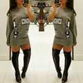 High Fashion Letter Print Hot Women Sweatshirt O Neck Long Sleeve Shirt Dress Mini Dress