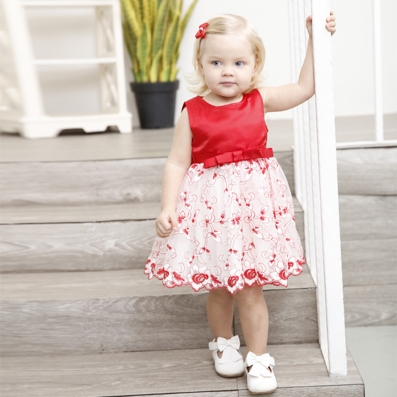 1-6T Baby Clothing Girls Dresses Sleeveless Baby Girls Dress Brand New Flower Print Princess Dress Costume for Kids Clothes 3214 sweet round collar flower and leaves print sleeveless dress for women