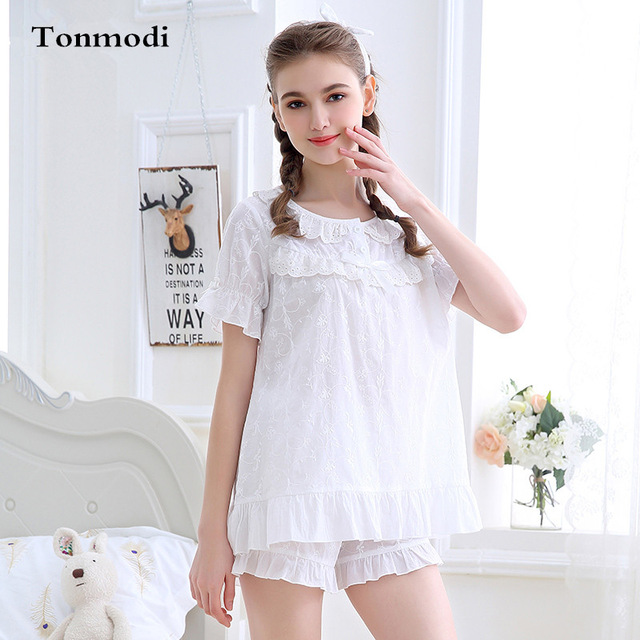 68aae46527d Ladies Summer Pyjamas Short-sleeve Cotton Pajamas Shorts Sexy Lace Sleepwear  Pink White Stitch Pajama