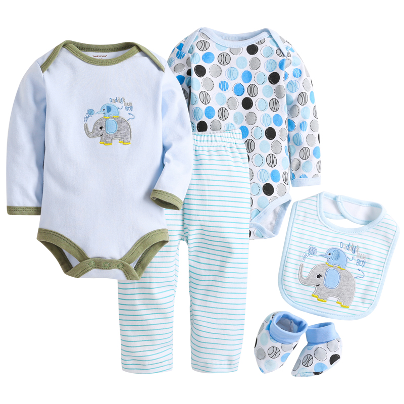 Baby Sets 5 pcs Elephant Baby Bodysuit Cotton Toddler Jumpsuit Spring Baby Boy Clothes Newborn Bebe Overall Clothes MKBCCL022