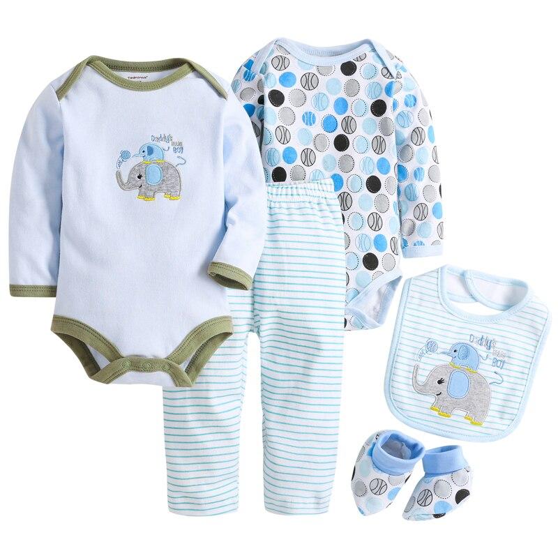 10aa2d539 3-24M 5pcs Cartoon Long Sleeved Baby Boy Bodysuits Newborn Baby Girl ...