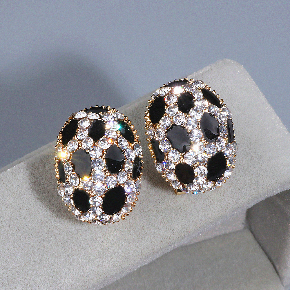 Trendy Luxury Crystal Ear Stud Earrings for Women Girls Gold Color Charm Rhinestone Leopard Print Stud Earring Wholesale WX084
