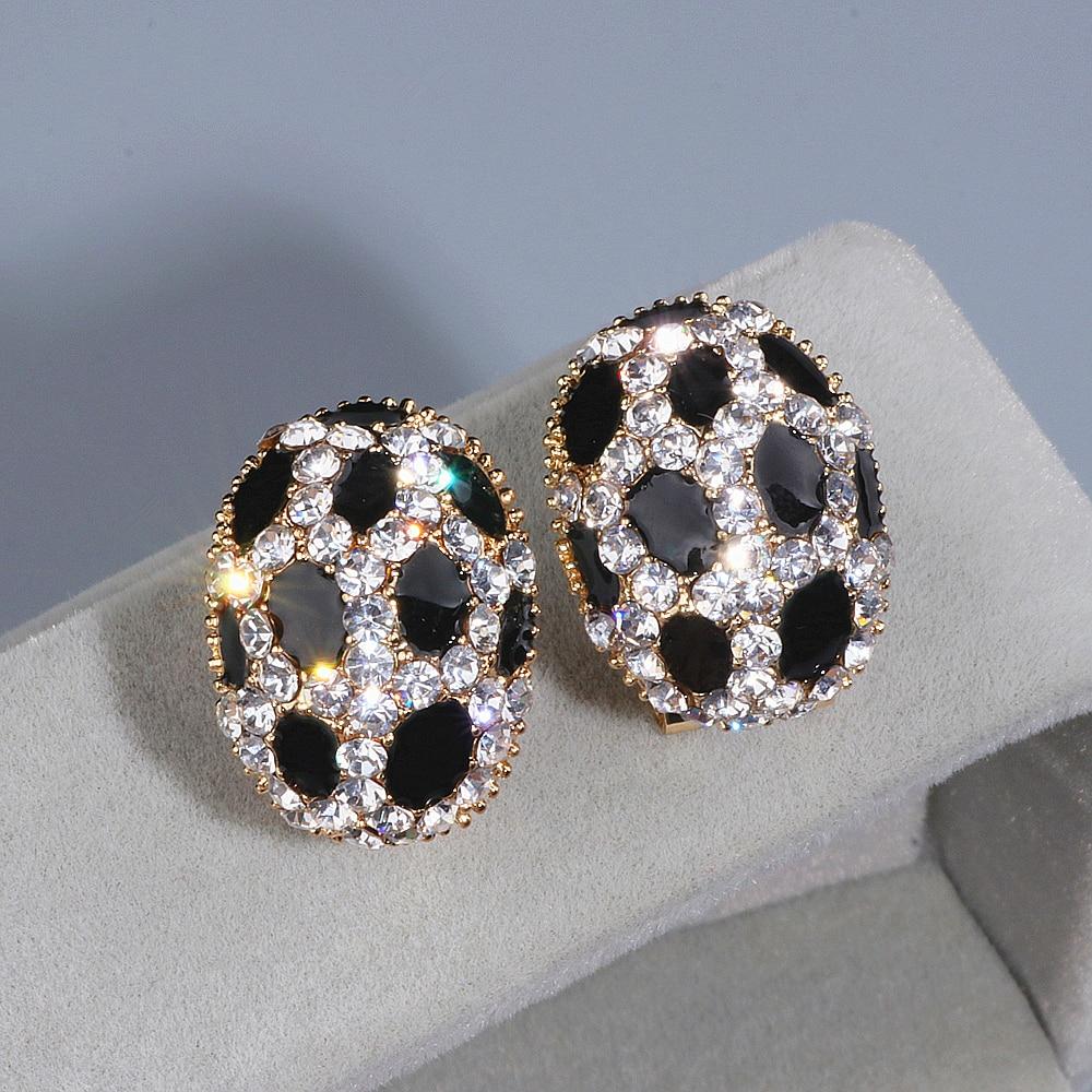 Trendy Luxury Crystal Ear Stud Earrings for Women Girls Gold Color Charm Rhinestone Leopard Print Stud Earring Wholesale WX084