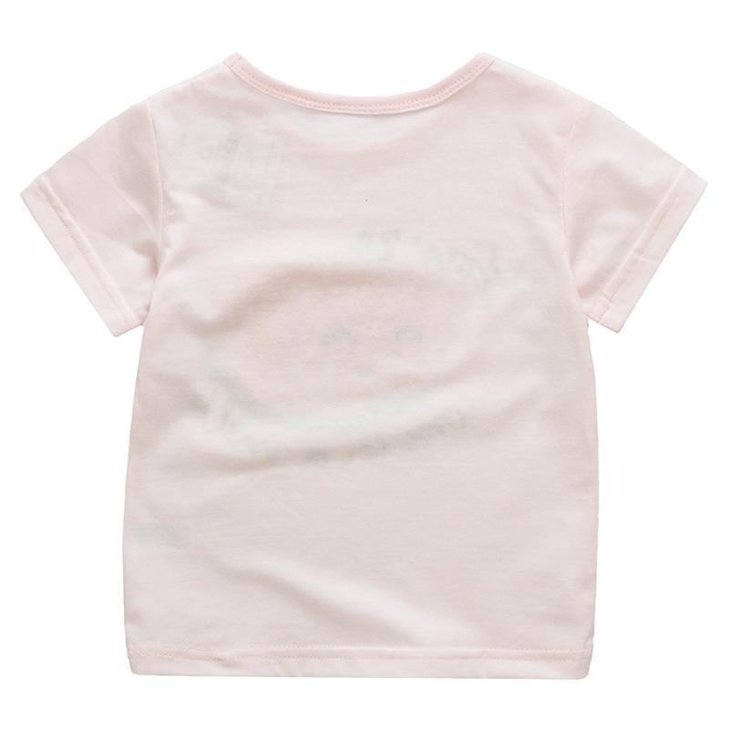 Dziewczyny T shirt Różowe letnie Topy Tee Drukowane bawełniane - Ubrania dziecięce - Zdjęcie 2