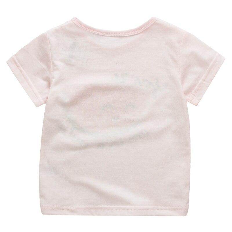 Meisjes T-shirt Roze zomer Tops Tee Bedrukte katoenen Baby Basic - Kinderkleding - Foto 2