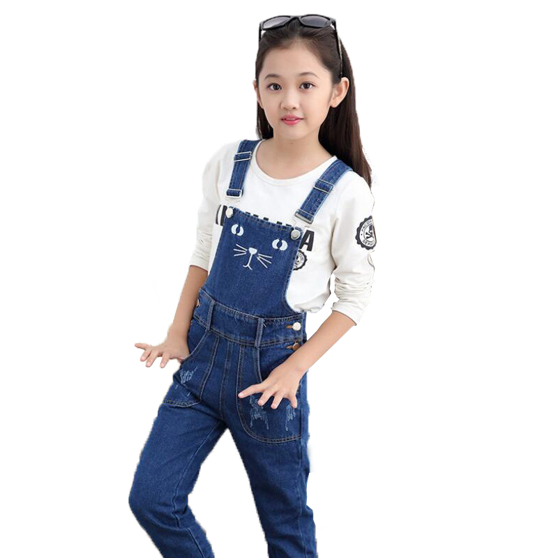 Fashion Kids Overalls Jeans for Girls 4 6 8 10 12 Years Kids Blue Cartoon Cat Denim Cotton Pants Girls Rompers for Autumn 5M14 fashion style destroy wash dark blue denim pants for men