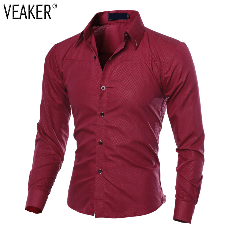 2018 New Men's Casual Grid Shirts Male Slim Fit Business Shirt Tops Men Autumn Long Sleeve Black Red Plaid Shirts Plus Size 5XL