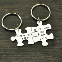 Engraved Keychain, Personalized Keychain,Couples Puzzle Piece Keychains, Anniversary Gift, Valentines Gift