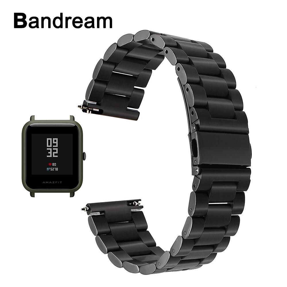 20mm Edelstahl Armband Schnellspanner für Xiaomi Huami Amazfit Bip BIT TEMPO Lite Jugend Uhr Band Metall Handschlaufe schwarz