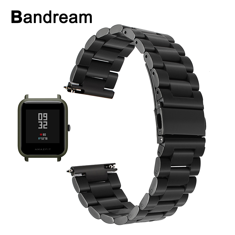 20mm Stainless Steel Watchband Quick Release for Xiaomi Huami Amazfit Bip BIT PACE Lite Youth Watch Band Metal Wrist Strap Black