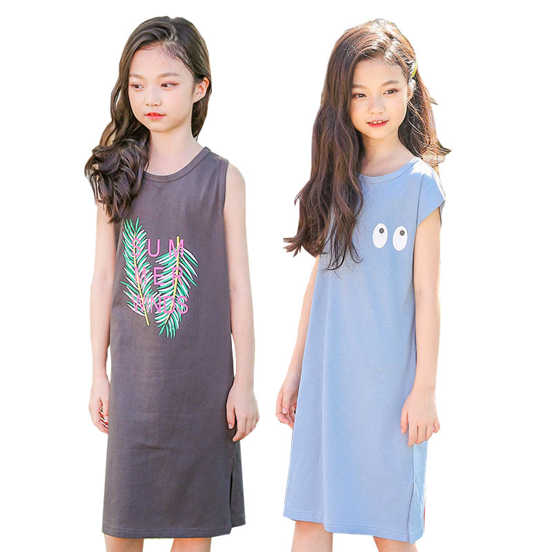 Girls Dress 2018 Summer Cotton Kids Dresses for teenagers Girls Clothes Printing Dress Long Kids Dresses 4-12T Children Clothing spring fall girls dress printing long sleeved dress with pockets cotton kids casual clothes brand children clothing 1 6 yrs