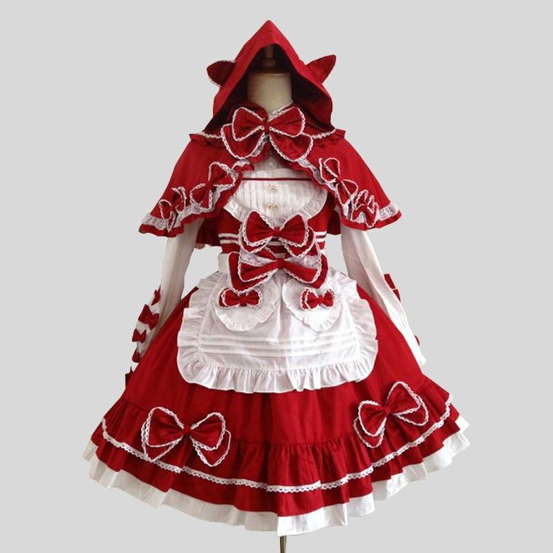Personnalisé 2018 rouge gothique victorien Lolita robes Costumes Halloween genou-longueur scène Performance femme de chambre Costumes de théâtre
