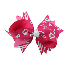 Adogirl 10pcs New Style Valentines Day Women Hair Bows with Clips Lovehearts Print Handmade Ribbon Hairgrips Boutique Headwear