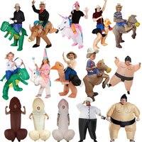 Fantasy Adult Inflatable Unicorn Dinosaur Costume Willy Cowboy Sumo Anime Cosplay Mascot Halloween Costume For Women Men Kid Boy