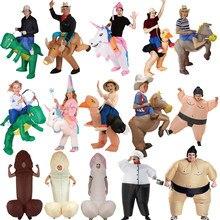 df3caec384 Purim Fantasia Unicórnio Traje de Dinossauro Inflável Willy Cowboy Sumo  Chef Animal Da Mascote Do Traje de Halloween Para A Mulh.