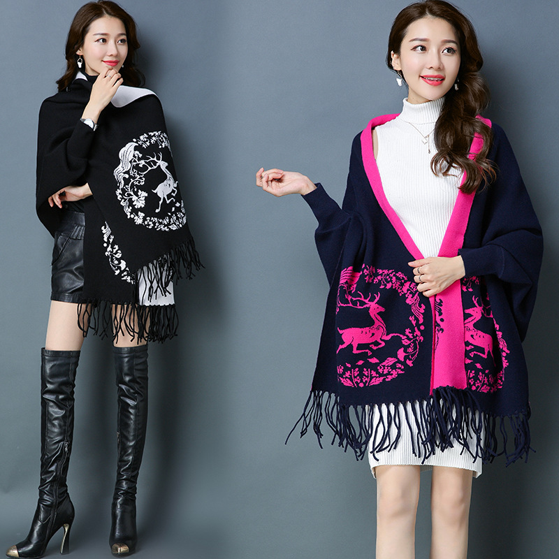 Apparel Accessories 5809 New Fashion Thickening Ethnic Cape Tassel Scarf Women Winter Knitted Coat Ladies Shawls And Wraps