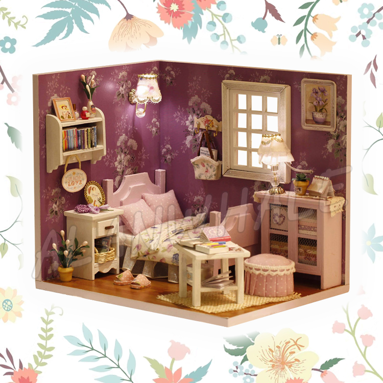 Miniature Doll House Living Room DIY LED Light Wooden Dollhouse With Furnitures Crafts A ...