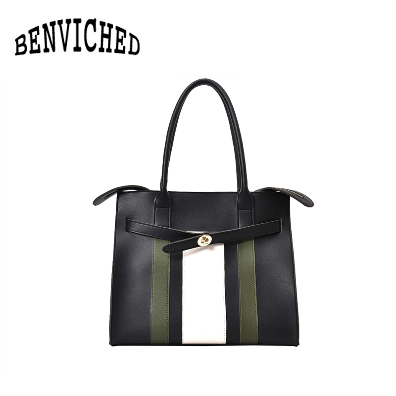 BENVICHED Fashion stripes hit color bag 2018 new womens handbag handbag casual belt shoulder bag R490