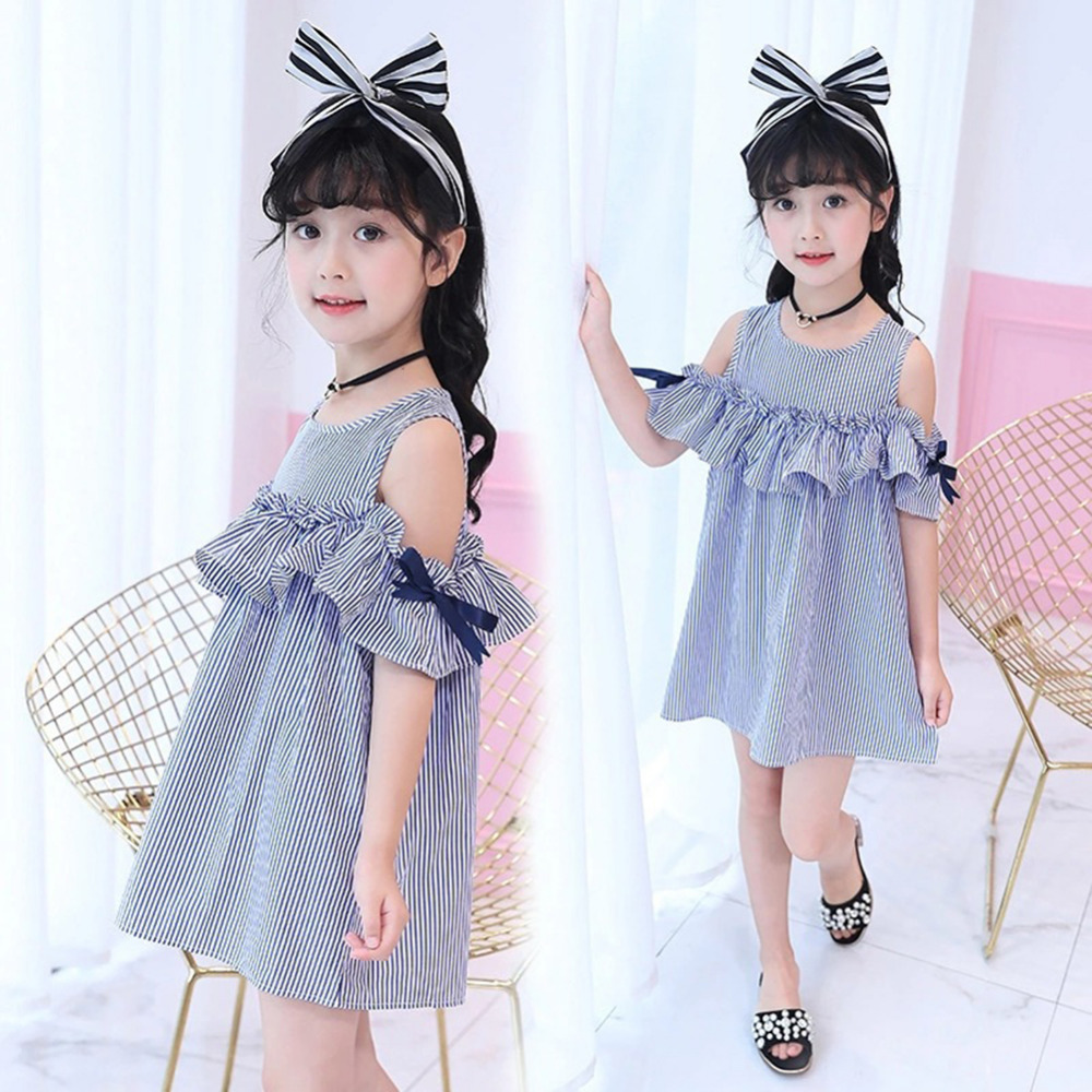 HTB17TpGXRCw3KVjSZR0q6zcUpXaq Summer Girls Tassel Flying Sleeve Dresses Stripe Cute Kids Party for girls Princess Dress Tops Clothes