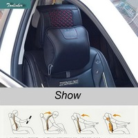 1 Pcs DIY Car Styling PU Leather Car Seat Memory Cotton Automotive Headrest Cover Case Stickers